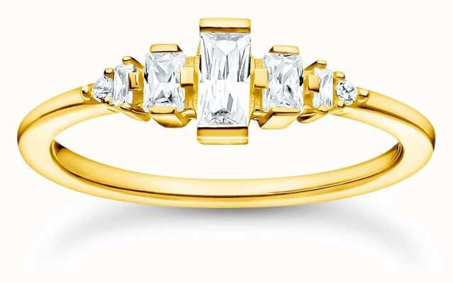 Thomas Sabo Gold Plated Vintage White Stones Ring   Size 54 (UK N) TR2347-414-14-54