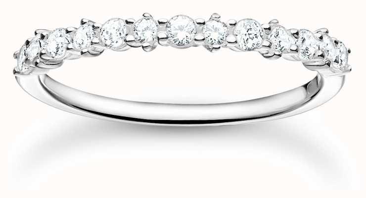 Thomas Sabo Sterling Silver White Stones Ring | Size 56 (UK O 1/2) TR2343-051-14-56