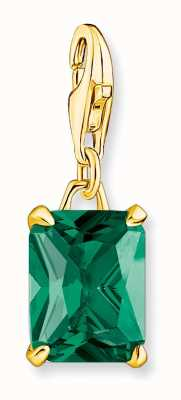 Thomas Sabo Gold Plated Large Green Stone Charm Pendant 1869-472-6