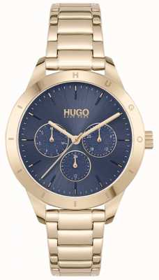 HUGO #FRIEND | Gold Plated Steel Bracelet | Blue Dial 1540092