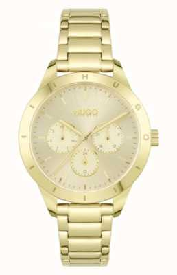 HUGO #FRIEND | Gold Plated Steel Bracelet | Gold Dial 1540091