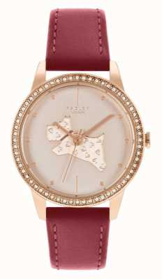 Radley Women's Red Leather Strap | Rose Gold Dog Motif Dial RY21184
