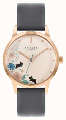 Radley Women's Black Leather Strap | Cream Floral Dial RY21262A