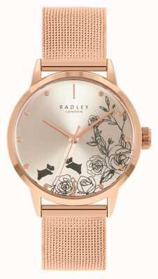 Radley Women's Rose Gold Mesh Bracelet | Silver Floral Dial RY4582A