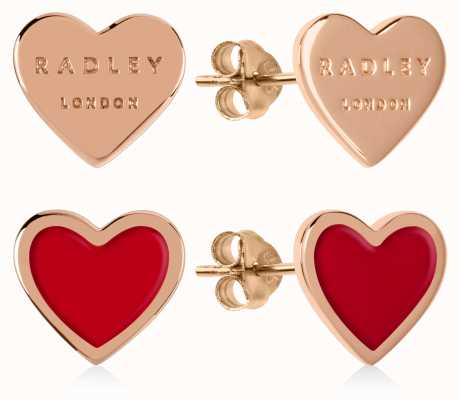 Radley Jewellery Love Letters | Rose Gold Plated & Red Heart Stud Earrings RYJ1154S-CARD