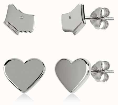 Radley Jewellery Love Heart | Sterling Silver Dog Head & Heart Stud Earrings Set RYJ1165S-CARD
