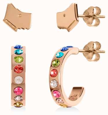 Radley Jewellery Love Letters | Rose Gold Plated Dog Head & Hoop Stud Earring Set RYJ1162S-CARD