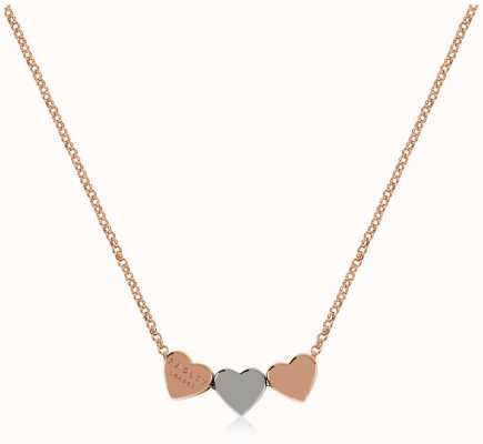 Radley Jewellery Love Letters   Rose Gold Plated Hearts Necklace   Rose & Silver RYJ2144S-CARD