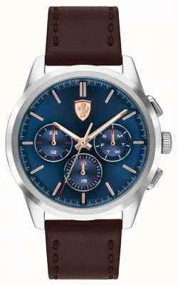 Scuderia Ferrari | Grand Tour | Brown Leather Strap | Blue Dial | 0830806