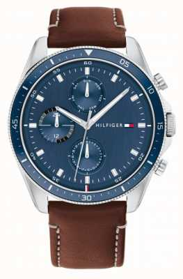 Tommy Hilfiger Parker | Men's Brown Leather Strap | Blue Dial 1791837