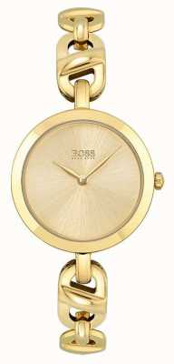 BOSS Womens | New Chain | Gold Dial | Gold PVD Steel Bracelet 1502591