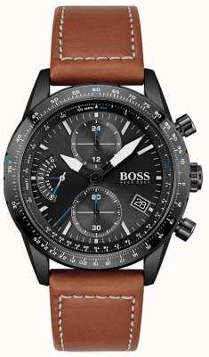 BOSS Men's | Pilot Edition | Chrono | Black Dial | Brown Leather 1513851