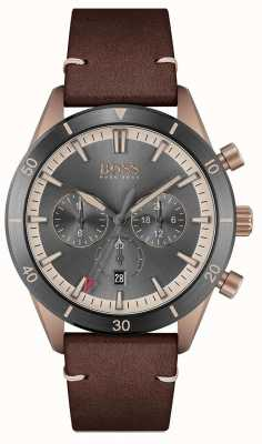 BOSS | Men's | Santiago | Grey Dial | Brown Leather Strap | 1513861