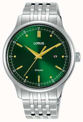 Lorus Mens | Green Sunray Dial | Stainless Steel Bracelet RH907NX9