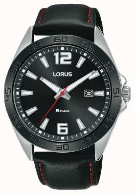 Lorus Mens | Black Dial | Black Leather Strap RH915NX9