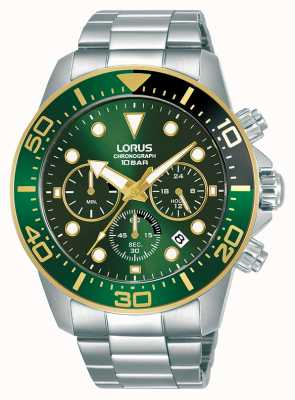 Lorus Men's | Chronograph | Green Dial | Stainless Steel Bracelet RT340JX9