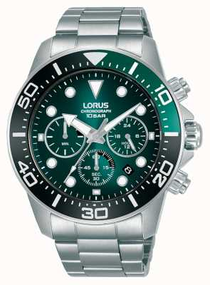 Lorus Mens  Chronograph | Green Dial | Stainless Steel Bracelet RT341JX9