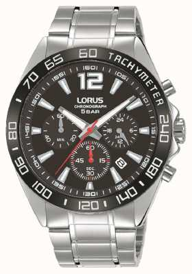 Lorus Mens | Chronograph | Black Dial | Stainless Steel Bracelet RT335JX9