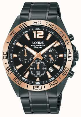 Lorus Mens | Chronograph | Black Dial | Black IP Steel Bracelet RT336JX9