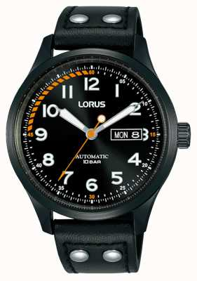 Lorus Mens | Automatic | Black Dial | Black Leather Strap RL461AX9
