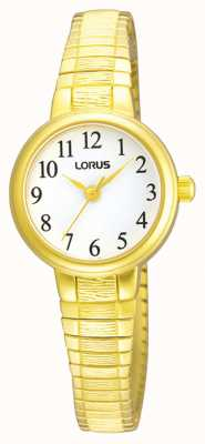 Lorus Womens | White Dial | Expandable Gold Stainless Steel Bracelet RG236NX9