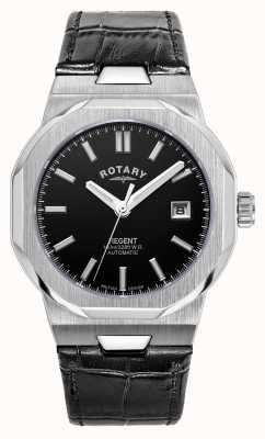 Rotary Mens | Regent | Automatic | Black Dial | Black Leather Strap GS05410/04