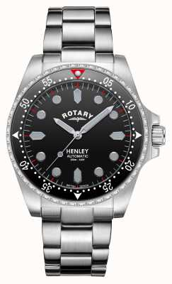 Rotary Mens | Henley | Automatic | Black Dial | Stainless Steel Bracelet GB05136/04