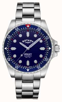 Rotary Mens | Henley | Automatic | Blue Dial | Stainless Steel Bracelet GB05136/05