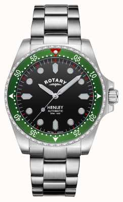 Rotary Mens | Henley | Automatic | Black Dial | Stainless Steel Bracelet GB05136/71