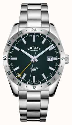 Rotary Mens | Henley | GMT | Green Dial | Stainless Steel Bracelet GB05176/24