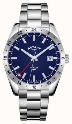 Rotary Mens | Henley | GMT | Blue Dial | Stainless Steel Bracelet GB05176/05