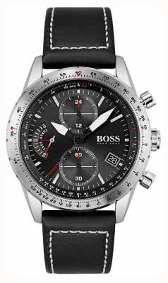 BOSS Pilot Edition | Men's Black Leather Strap | Black Dial 1513853