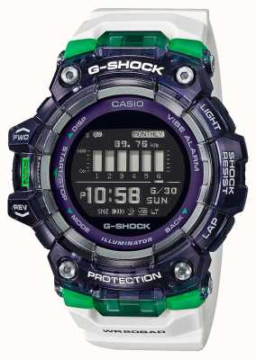 Casio G-Shock | Sports Vital Series | White Silicone Strap | Black Dial | Bluetooth GBD-100SM-1A7ER