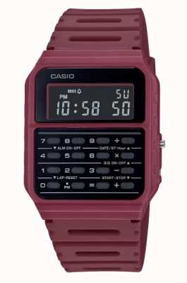 Casio Retro Calculator Watch | Deep Red Resin Strap | Black Dial CA-53WF-4BEF