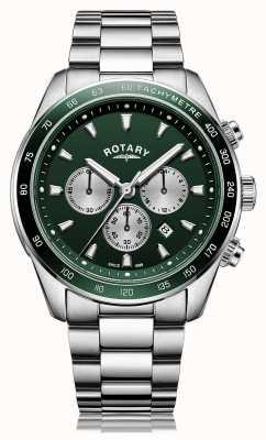 Rotary Men's | Henley | Chronograph | Green Dial | Stainless Steel Bracelet GB05109/24