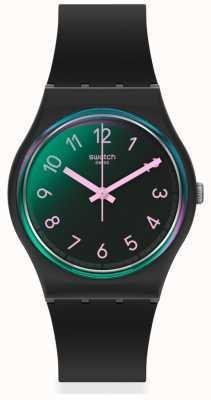 Swatch LA NIGHT | Black Silicone Strap | Multi-coloured Dial GB330