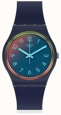 Swatch | LA NIGHT BLUE | Blue Silicone Strap | Multi-coloured Dial | GN274
