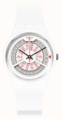 Swatch N-IGMA WHITE | White Silicone Strap | Grey/White Dial GW717
