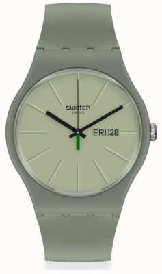 Swatch WE IN THE KHAKI NOW | Green Silicone Strap | Green Dial SO29M700