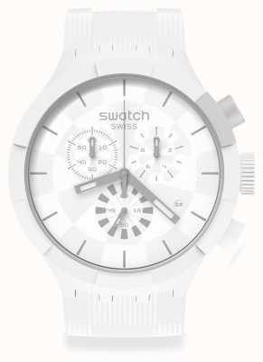 Swatch CHEQUERED WHIITE | White Silicone strap | White Dial SB02W400