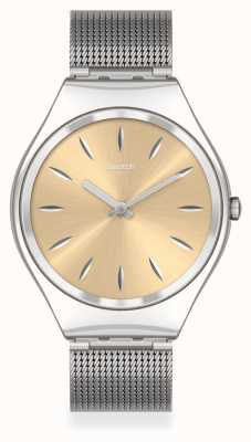 Swatch SKINGOLDENBLINK | Silver Steel Mesh Bracelet | Gold Dial SYXS133M