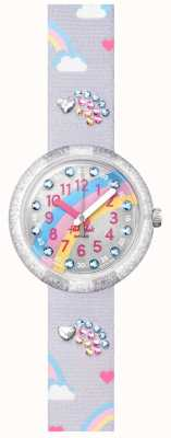 Flik Flak OVER THE RAINBOW | Grey Fabric Strap | Grey Rainbow Print Dial FPNP072