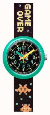 Flik Flak TIME INVADER | Black Patten Fabric Strap | Black Dial FPNP069
