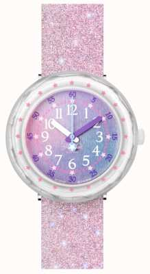 Flik Flak PEARLAXUS | Pink Glitter Silicone Strap | Multi-Coloured Dial FCSP107