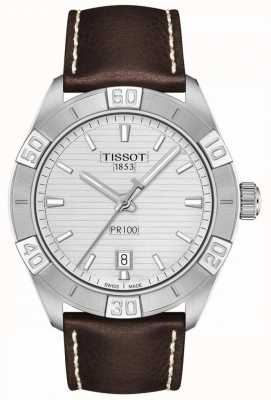 Tissot PR100 Sport | Silver Dial | Brown Leather Strap T1016101603100