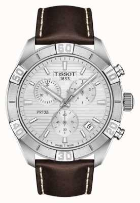 Tissot PR100 Sport | Chronograph | Silver Dial | Brown Leather Strap T1016171603100