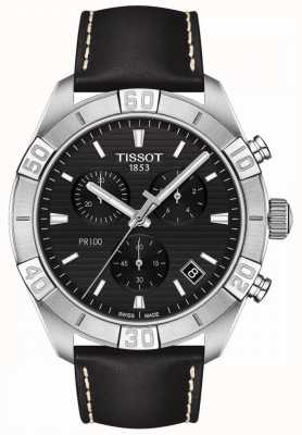 Tissot PR100 Sport | Chronograph | Black Dial | Black Leather Strap T1016171605100