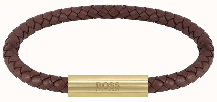 BOSS Jewellery Men's Braided Leather Brown Bracelet 1580151