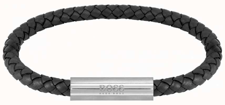 BOSS Jewellery Men's Braided Leather Black Bracelet 1580152