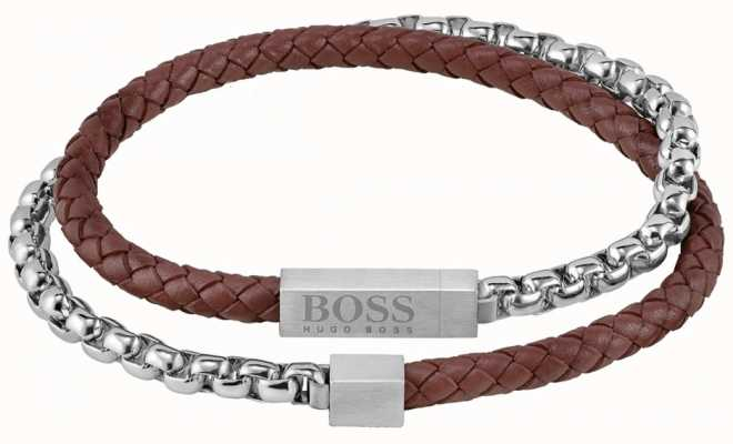 BOSS Jewellery Men's Brown Leather And Steel Chain Mixed Wrap Bracelet 1580149M
